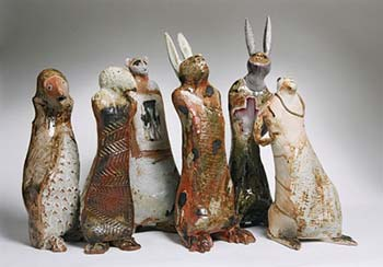 Ceramic figures by Meri Wells.