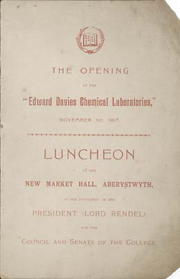 Cover of the Menu for the Luncheon celebrating the opening of the Edward Davies Chemical Laboratories.