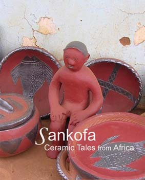 Sankofa - Exhibition poster with ceramic figure and pots.