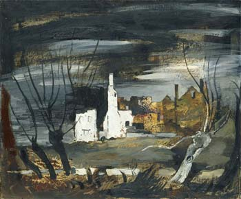 John Piper (1903-1992), A Ruined House, Hampton Gay, Oxfordshire, 1941, oil and indian ink on canvas stretched on board