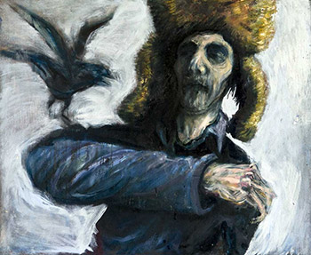 Self portrait with a bird, 2009, oil on canvas
