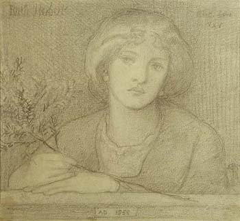 Drawing by Dante Gabriel Rossetti.