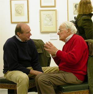 Edgar Holloway (right) in discussion at the Private View